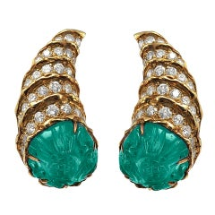 Fred Paris Carved Emerald Diamond Gold Earclips