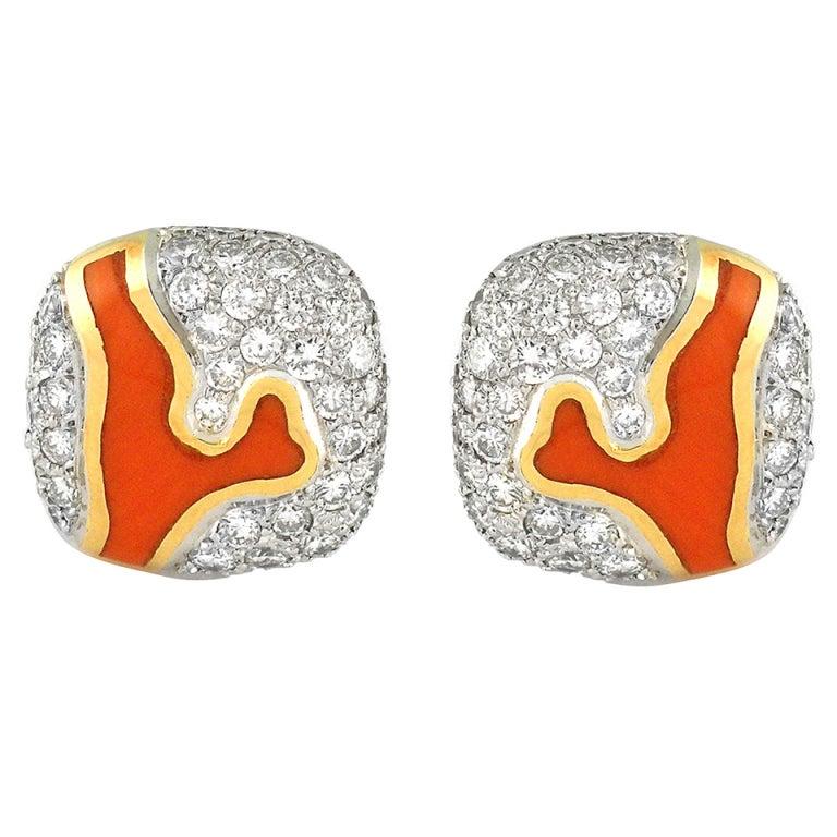 Tiffany & Co. Angela Cummings Coral Diamond Gold Platinum Earrings