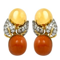 Coral Diamond Gold Earclips by Schlumberger