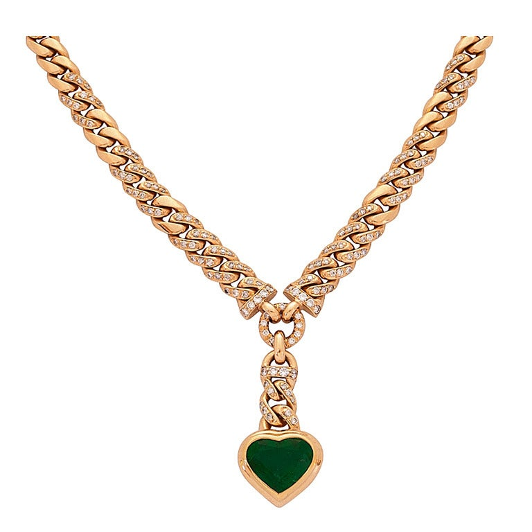 Gubelin Emerald and Diamond Necklace