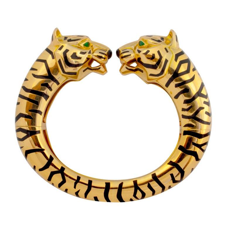 Rare Cartier Paris Barbara Hutton Style Gold Tiger Bangle