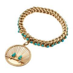 1960s Van Cleef & Arpels Turquoise Charm Bracelet