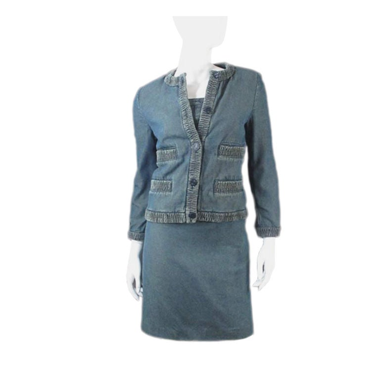 chanel prewashed blue denim skirt suit and bustier size 36