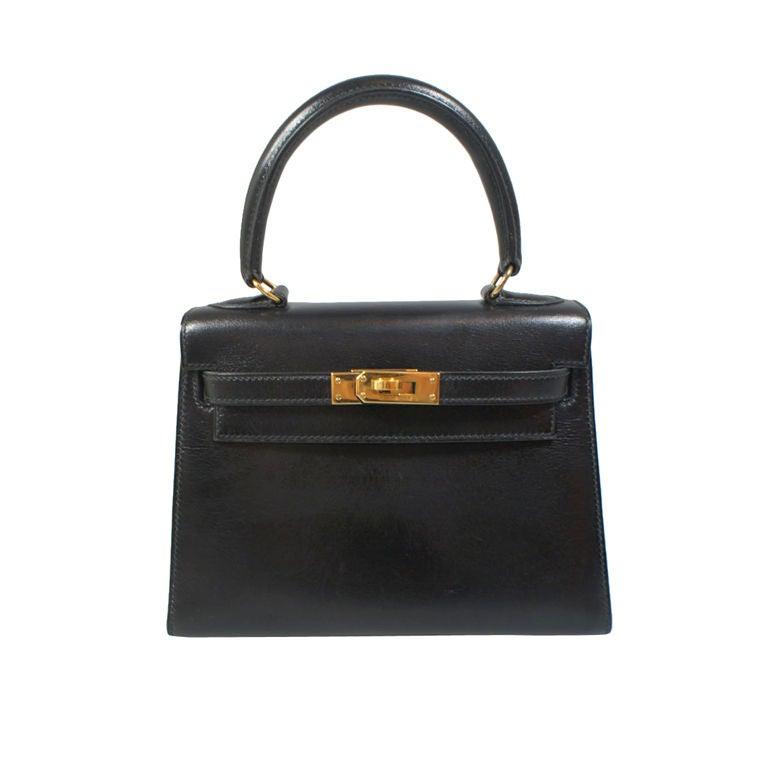 Hermes Vintage Noir Black Box Leather Mini Kelly 20cm