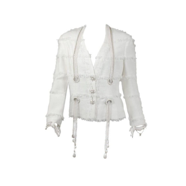 Chanel White Multi Boucle Dangling Pearl Jacket 40 Us 8 At