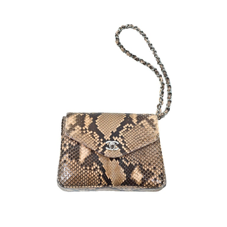 72fb726550e9 Chanel Beige and Black Mini Python Clutch Wristlet SHW Pink Inside at  1stdibs