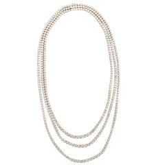 Elegant White  Gold Three Strand Diamond Link Necklace