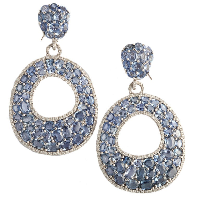 Scintillating Light Blue Sapphire Diamond Earrings At 1stdibs