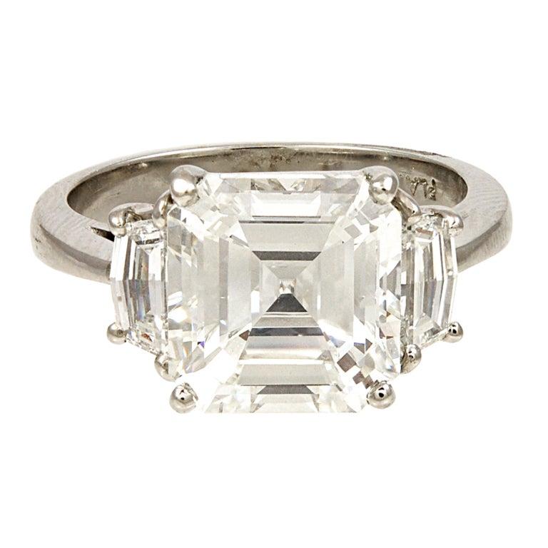 Asscher Cut Diamond GIA Cert Engagement Ring at 1stdibs