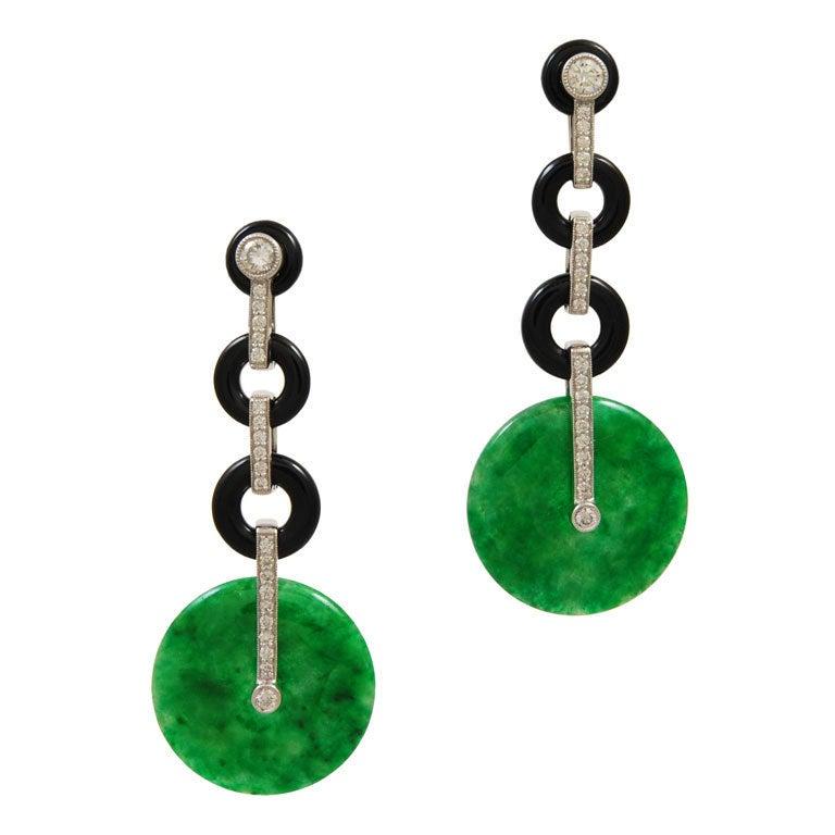 Jade Onyx Diamond Drop Earrings At 1stdibs
