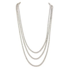 Three Strand  Diamond Opera Length Necklace
