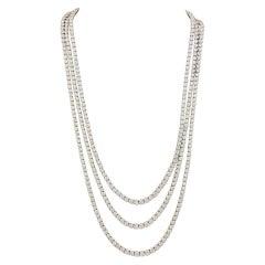Three Strand  Diamond Opera Length Necklace