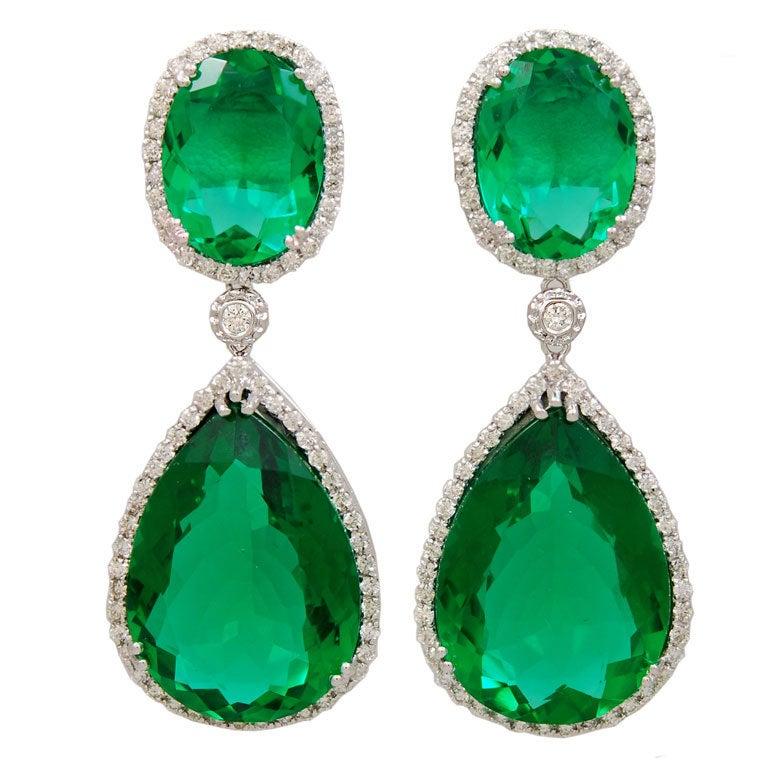 vibrant green quartz and diamond earrings at 1stdibs