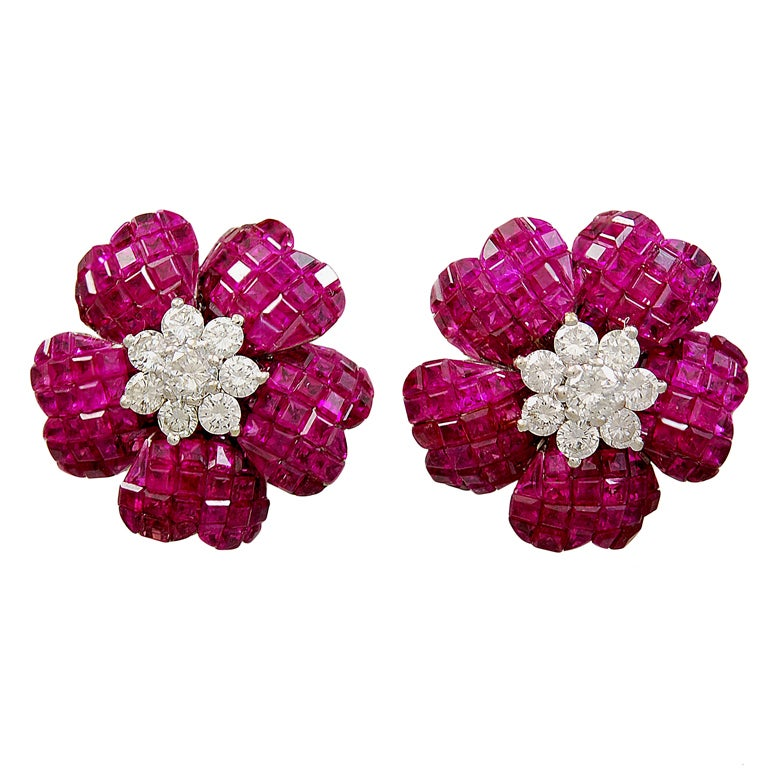 Invisibly Set Ruby Diamond Earrings For Sale