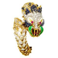 Fabulous Precious Stone Diamond Enamel Dragon Bracelet