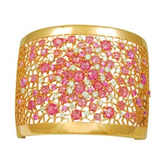 Stunning Diamond and Pink Sapphire Wide Cuff