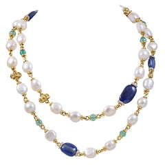 Gold, Colored Stone and Pearl Necklace