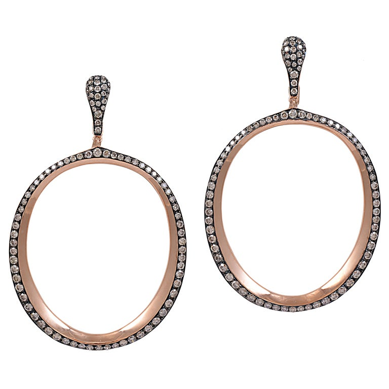 Chocolate Diamond Hoop  Earrings