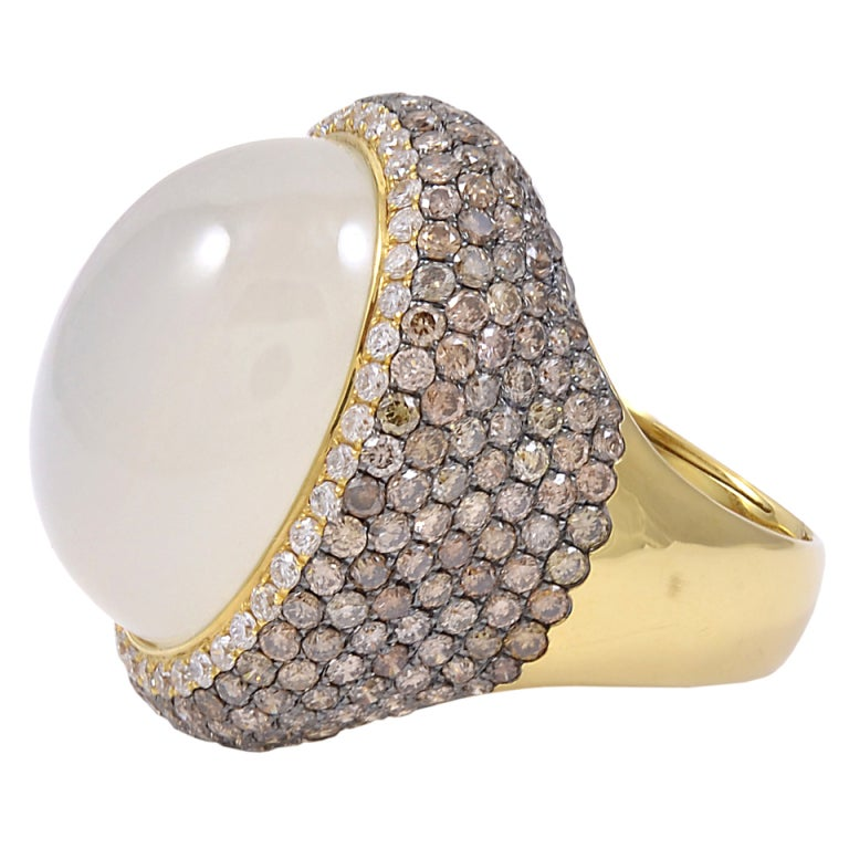 Moonstone White And Chocolate Diamond Ring For Sale At 1stdibs