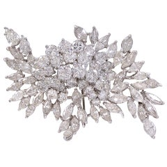Elegant 1960's Diamond Spray  Brooch