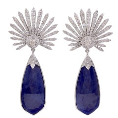 Diamond Sunburst and Tanzanite Earrings