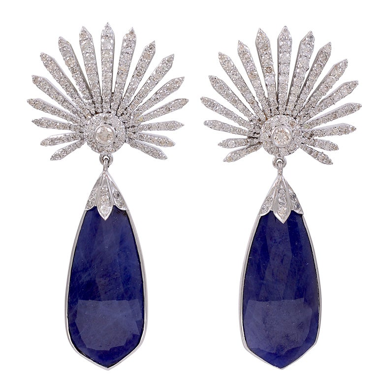 in earrings gold white ctw dream drop catcher tanzanite