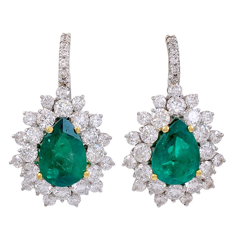 pear shaped untreated emerald and diamond earrings for sale at 1stdibs