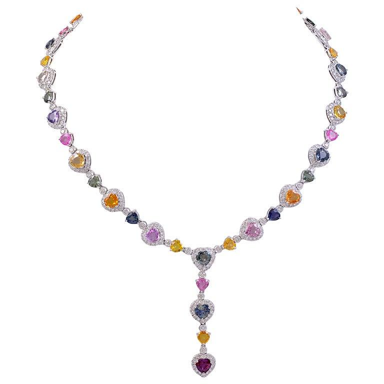 Multi Color Sapphire Diamond Heart Necklace