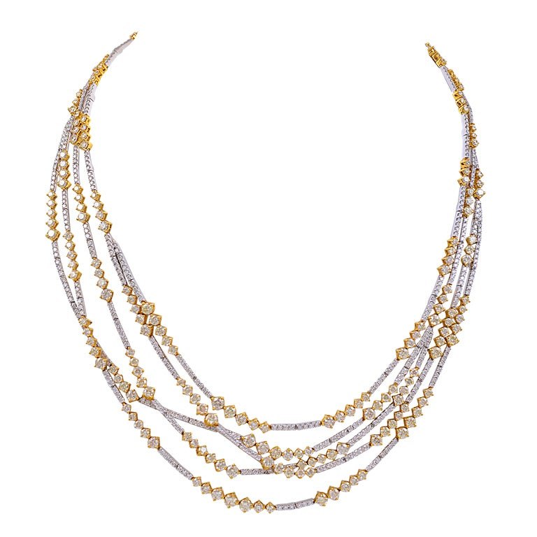 Yellow and White Diamond MultiStrand Necklace