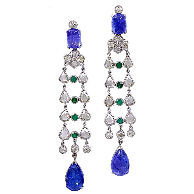 Rose Cut Tanzanite and Emerald Drop Earrings For Sale
