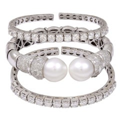 Three Stackable  Diamond Bangles