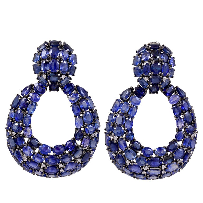 open blue sapphire and diamond earrings for sale at 1stdibs