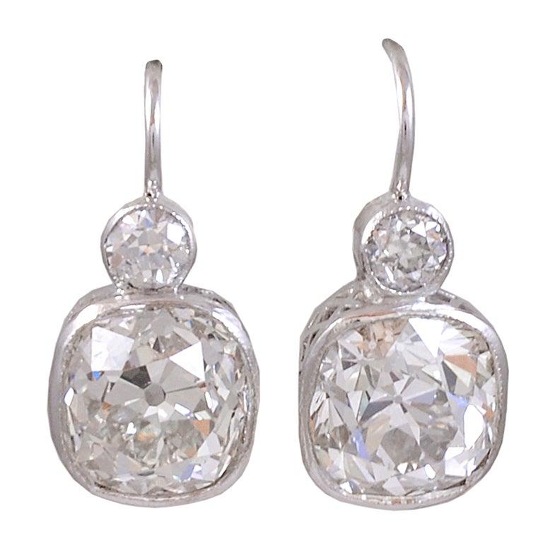 Cushion Cut  Diamond Earrings For Sale