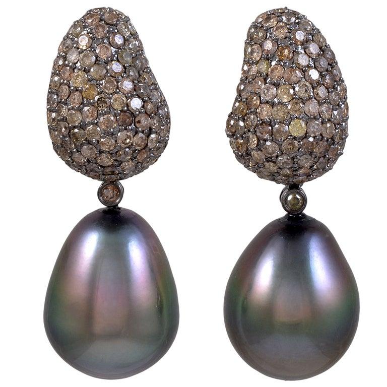 chagne tahitian pearl earrings at 1stdibs
