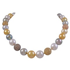 Multi Colored Pearl and Diamond Necklace