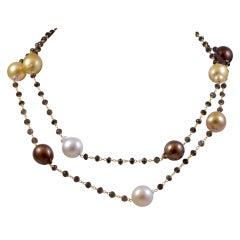 Multi  Colored Pearl Chain with Smokey Quartz