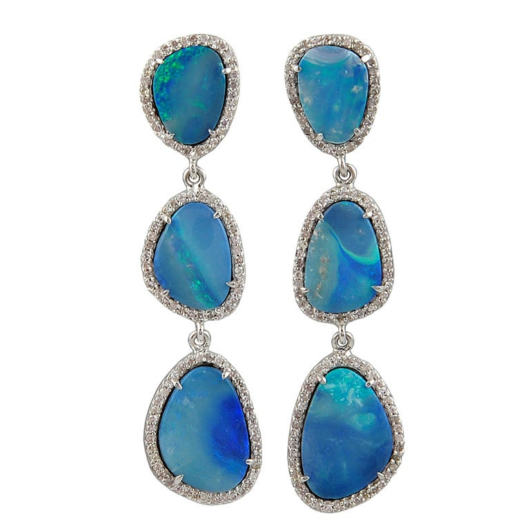 Opal and Diamond Earrings For Sale