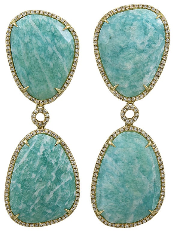 Beautiful Rich  Green Amazonite and Diamond Earrings with 43.11 Color and .78 TCW Diamonds