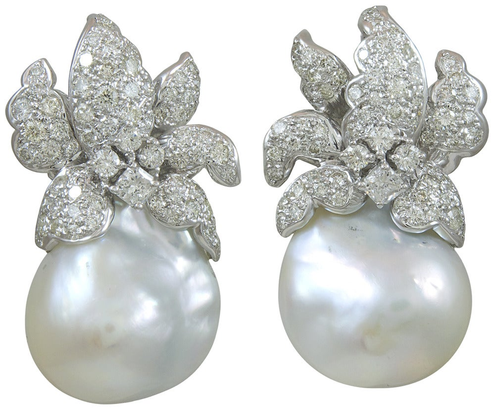 Natural Baroque south Sea Pearl and diamond Earrings 2