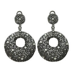Back and White Open Diamond Circle Earrings