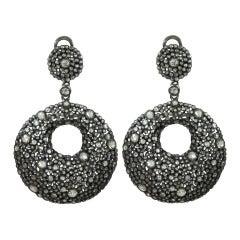 Back and White Open Diamond Circle Earrings