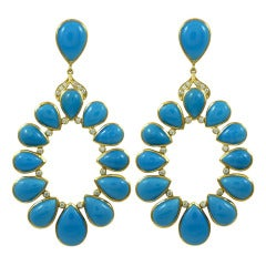 Turquoise and Diamond Open Circle Earrings