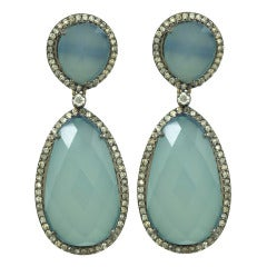 Double Hanging Calcedony and Diamond Earrings