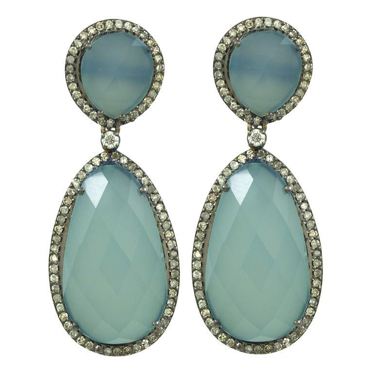Double Hanging Calcedony and Diamond Earrings 1