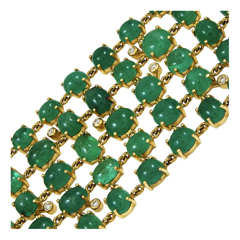 Wide Emerald Bracelet For Sale