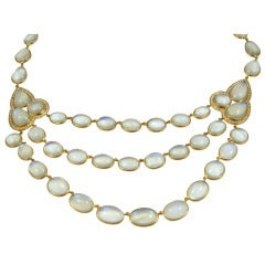 Three Row Moonstone Diamond Necklace