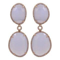 Double Hanging Chalcedony and Diamond Earrings
