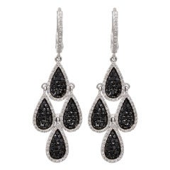 Black And White Diamond Multi Tear Drop Earrings