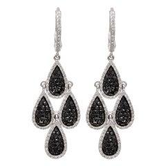 Black And White Diamond Multi Tear Drop Earrings