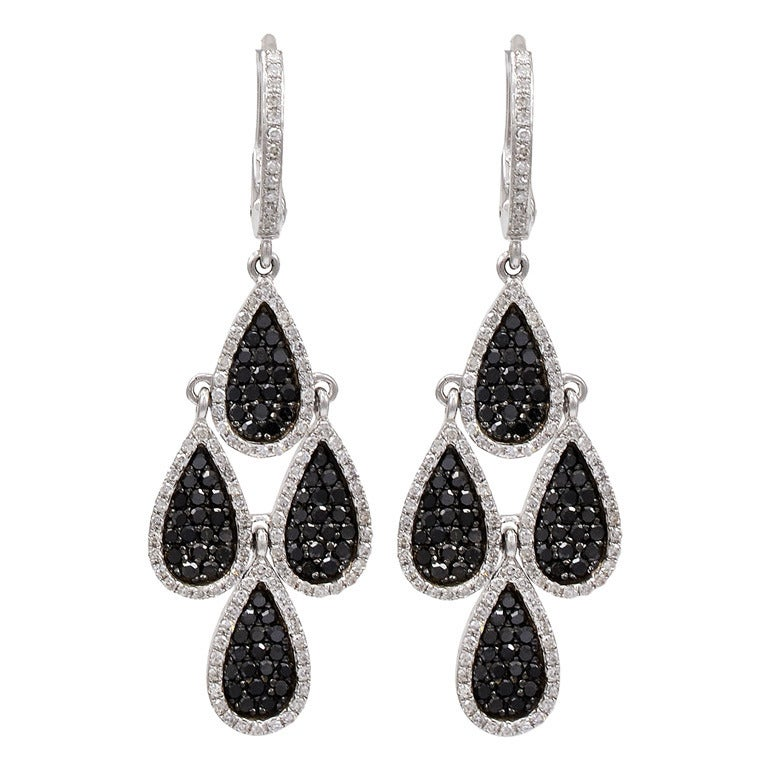 black and white multi tear drop earrings at 1stdibs